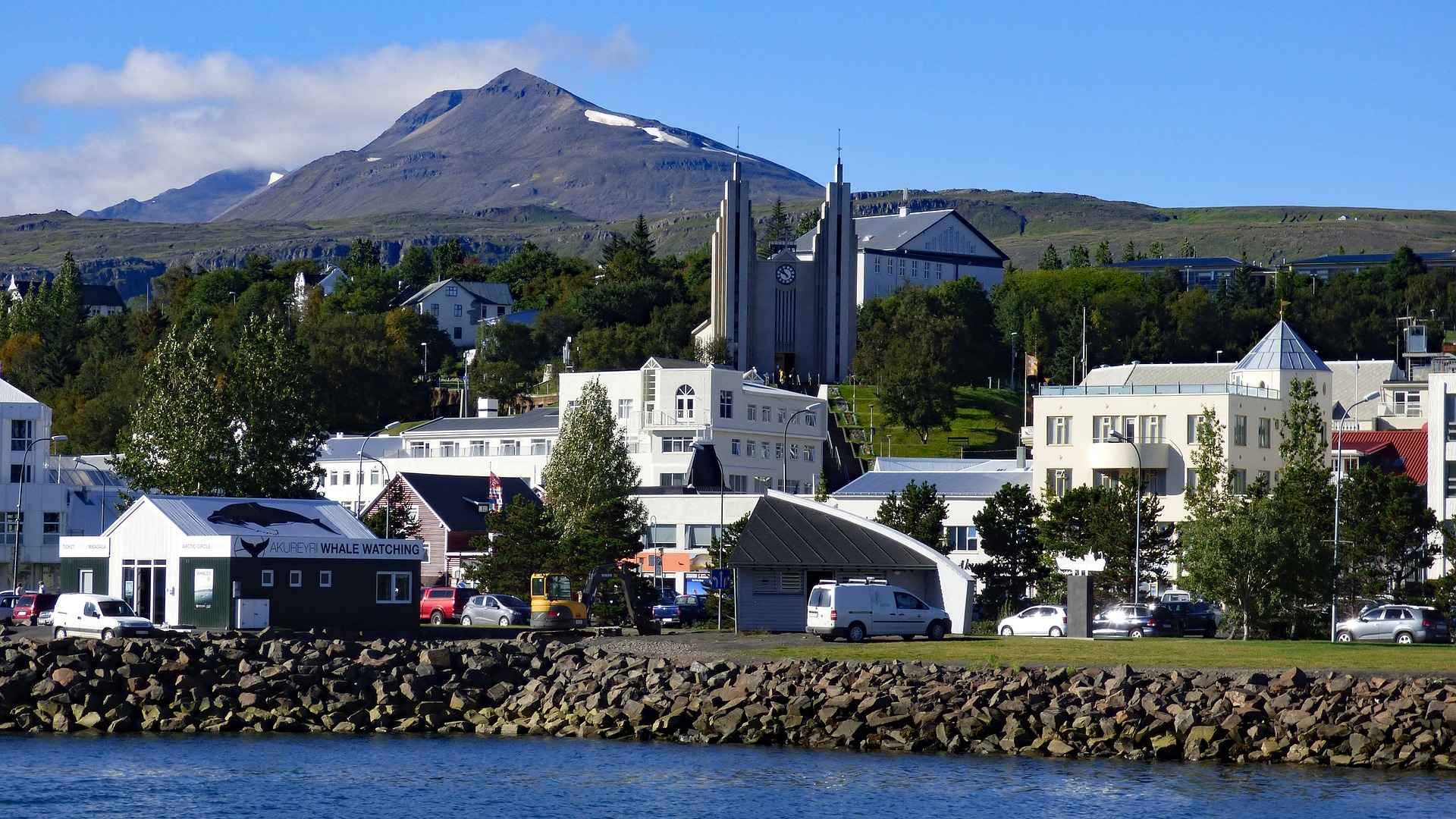 Akureyri, church, buildings, houses, blue sky