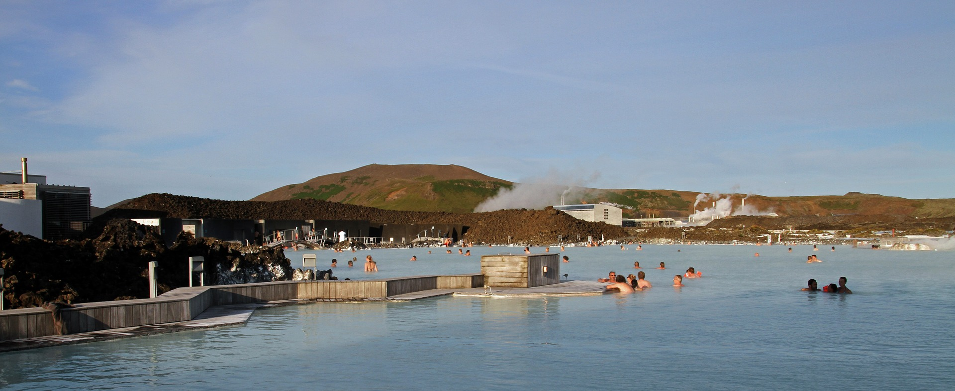 Panorama of blue lagoon in Iceland