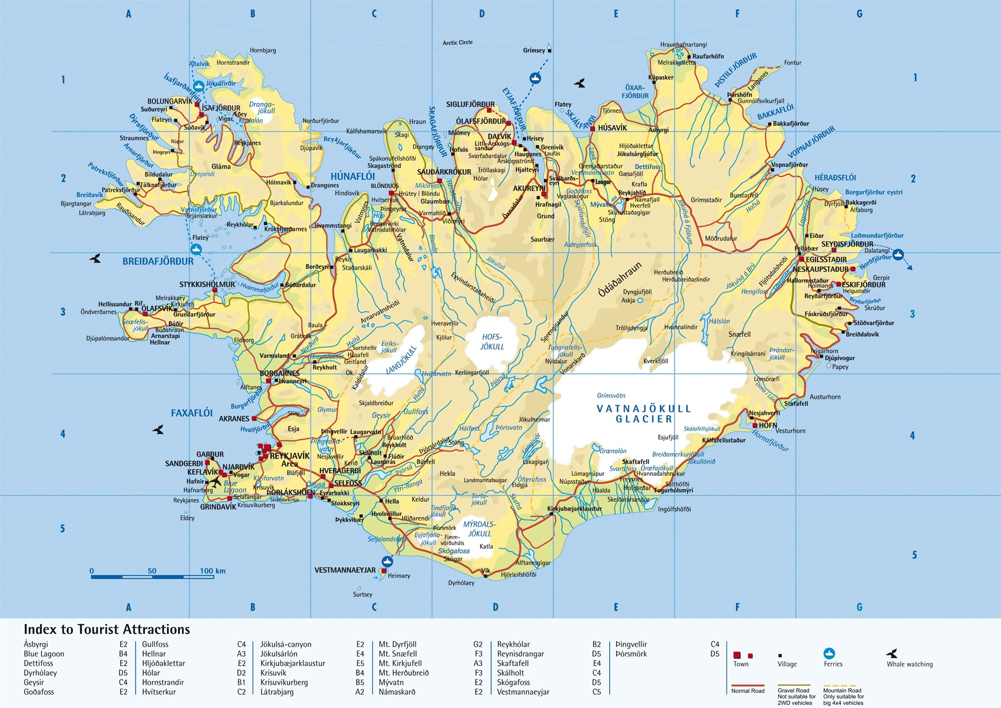 road map of iceland