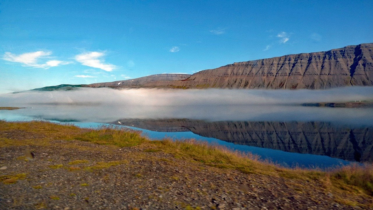 Westfjords in Iceland, mountains, water, ocean and clouds