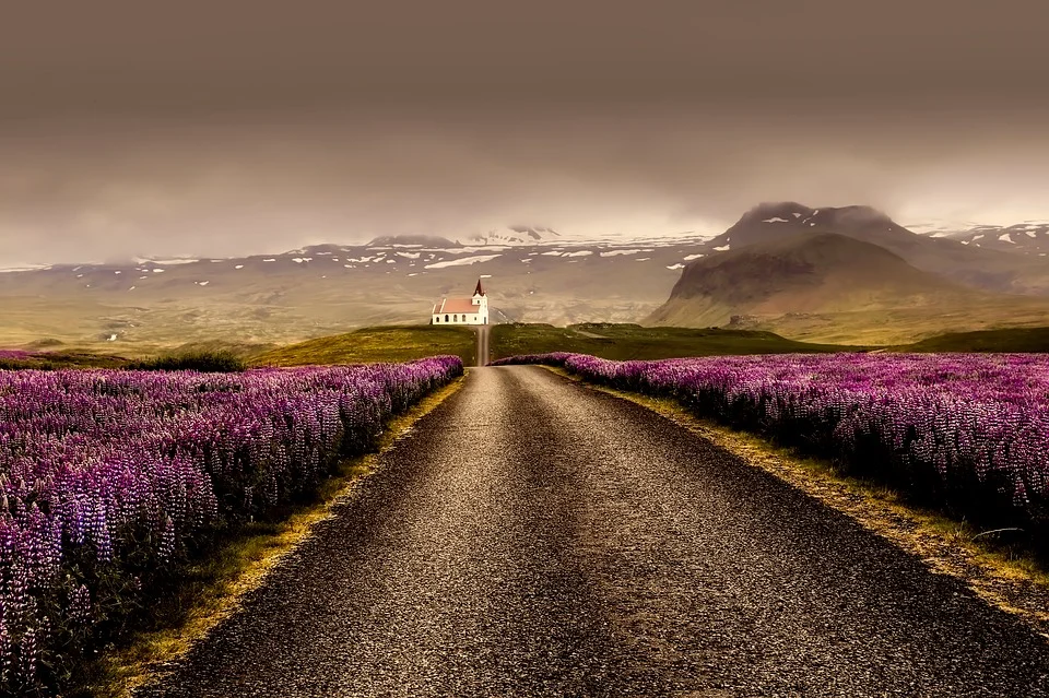 Icelandic Road during summer